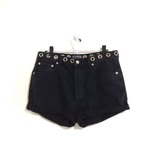 Agolde High-Rise Cut-Off Studded Denim Shorts